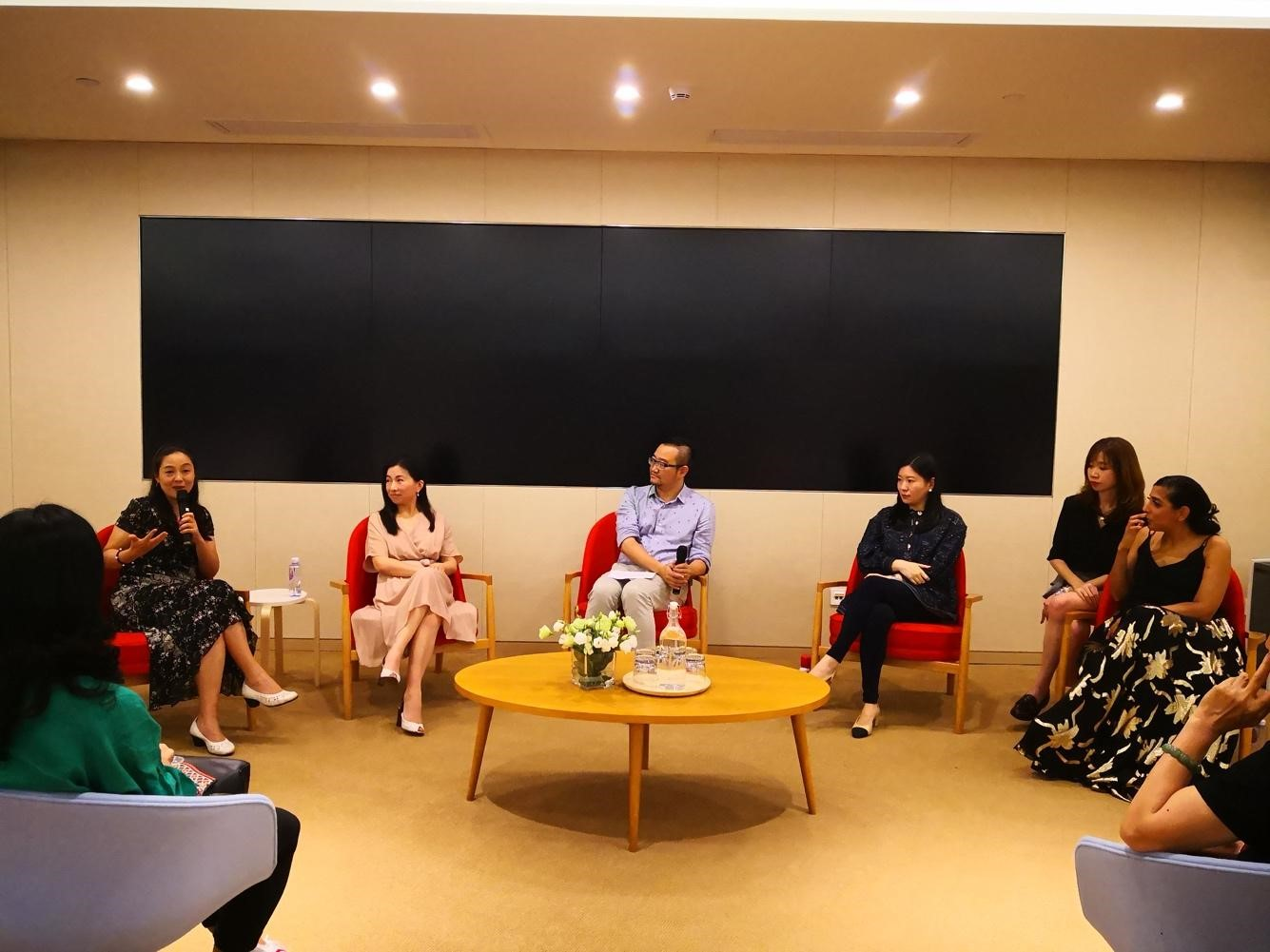 From left to right: Wang Xia, Shi Lan, Henry Zeng, Claire Yang, Translator, Lena Gidwani
