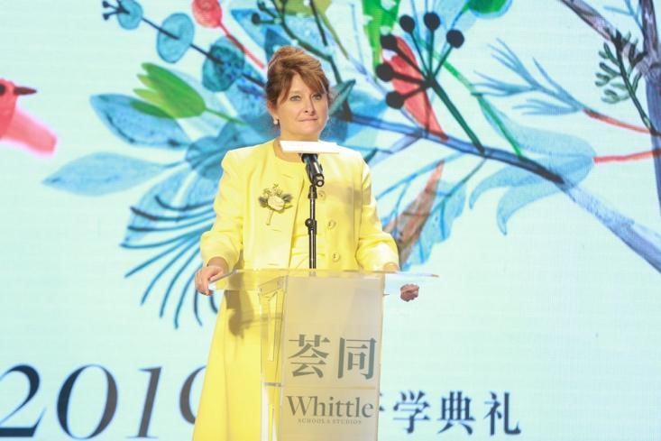Whittle School & Studios, Shenzhen campus headmistress delivering a speech at the opening ceremony