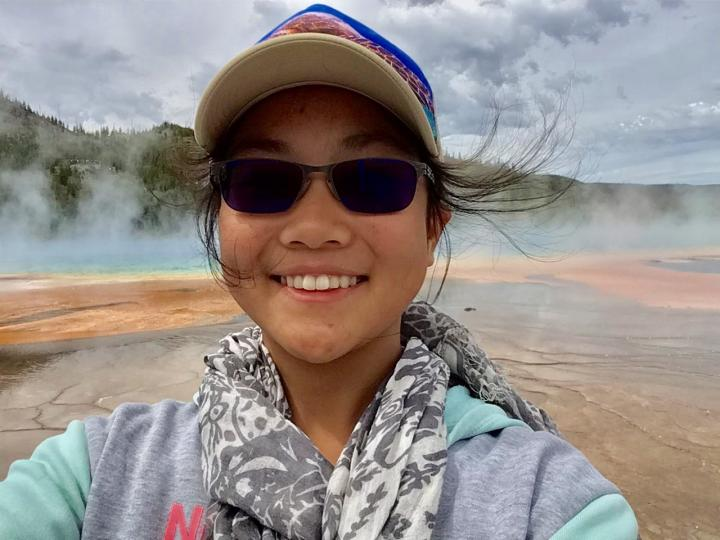 JiaJia at the Grand Prismatic Spring in Yellowstone National Park.
